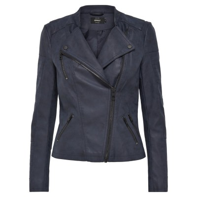 Ava Only Faux Leather Biker Jacket - Dark Navy